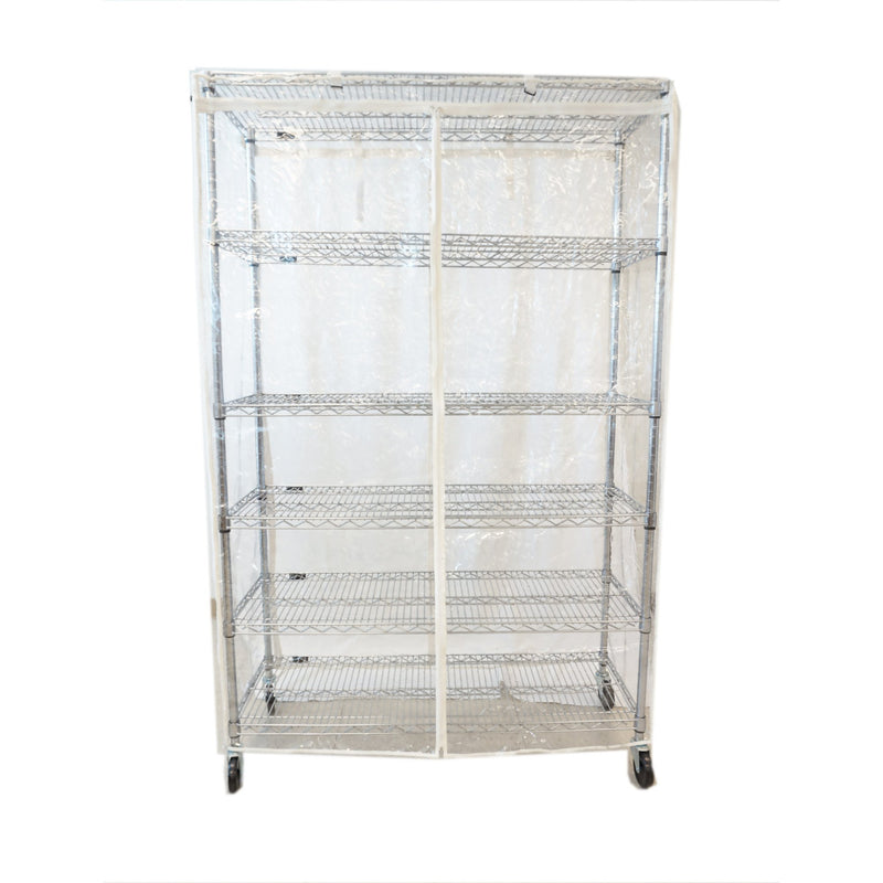 "Storage Shelving Unit Cover, fits racks 48"" W x 18"" D x 72"" H All Clear See Through PVC"