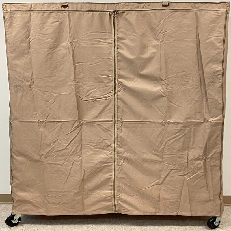 "Storage Shelving Unit Cover, fits racks 60""W x 24""D x 72""H one side see through panel in Khaki"