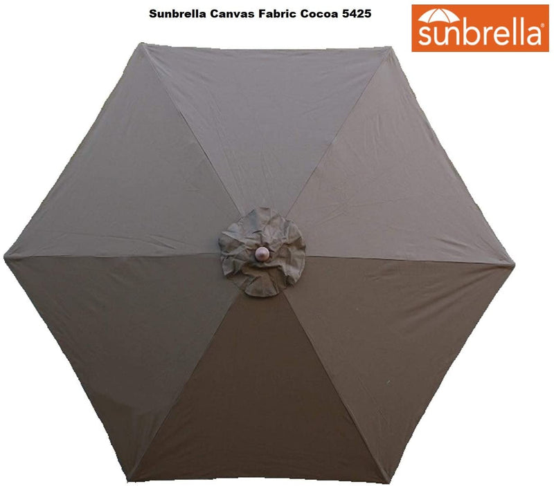 9ft Market Patio Umbrella 6 Rib Replacement Canopy Sunbrella Fabric Cocoa