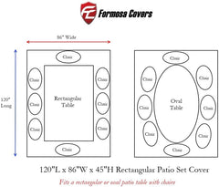 Patio Set Cover For Rectangular or Oval Table 120