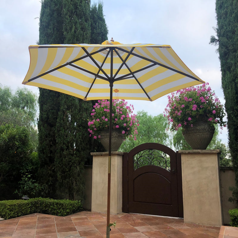 9ft Market Patio Umbrella 6 Rib Replacement Canopy Yellow Cabana Stripe