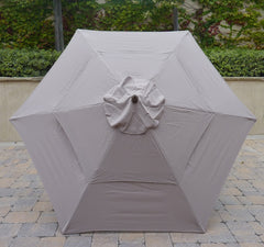 9ft Market Patio Umbrella Double-Vented 6 Rib Replacement Canopy Taupe - Formosa Covers