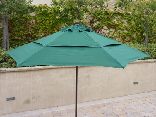 9ft Market Patio Umbrella Double-Vented 6 Rib Replacement Canopy Hunter Green - Formosa Covers