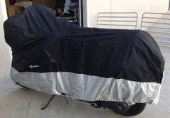 Heavy Duty Motorcycle Cover with Cable & Lock (L) Black