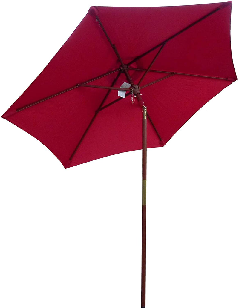 7ft Wooden Patio Garden Market Umbrella with Tilt Mechanism Brick Red