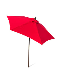 7ft Wooden Patio Garden Market Umbrella with Tilt Mechanism Red