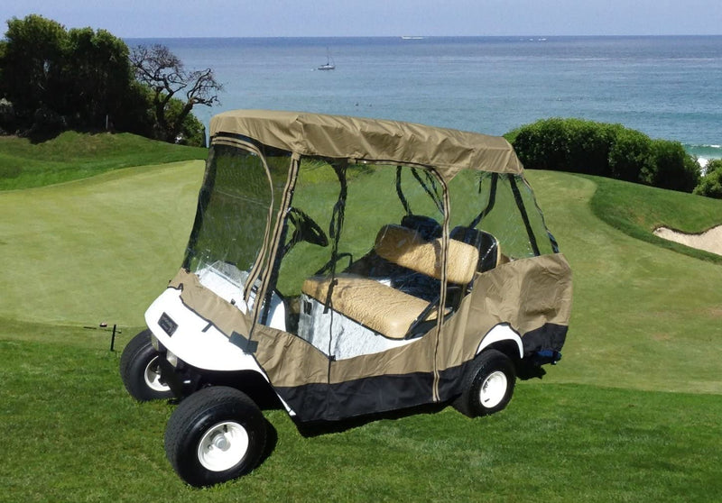 "4 Passenger Golf Cart Driving Enclosure Cover (2 Passenger Short Roof 58"") Taupe - Formosa Covers"