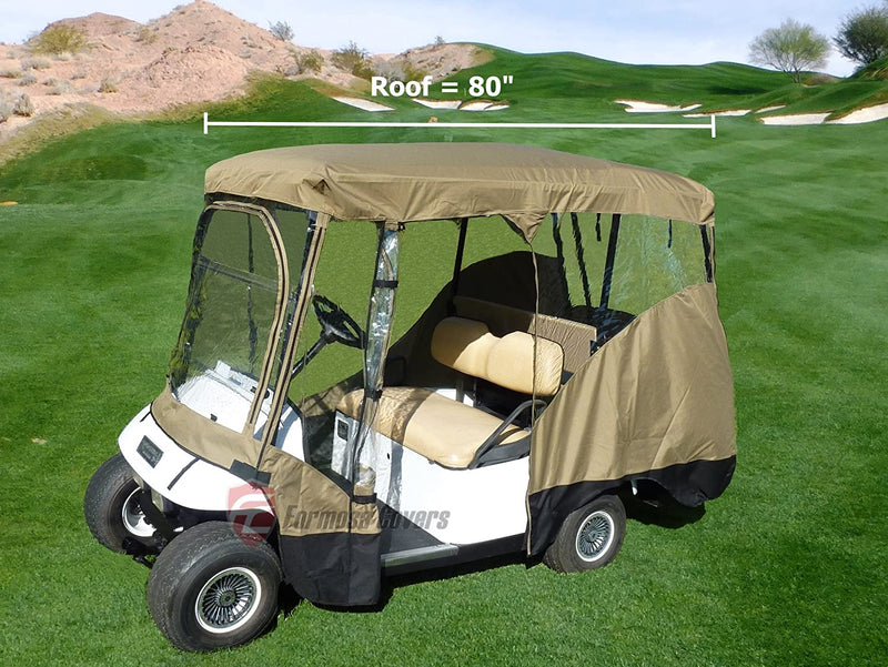 4 Passenger Golf Cart Driving Enclosure Cover Taupe - Formosa Covers