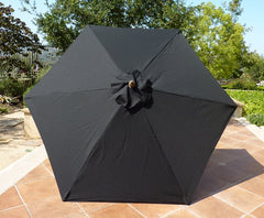 9ft Market Patio Umbrella 6 Rib Replacement Canopy Black - Formosa Covers