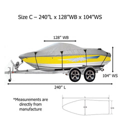 Premium 600 Denier Boat Cover Size C, fits 16ft to 18.5ft Boats
