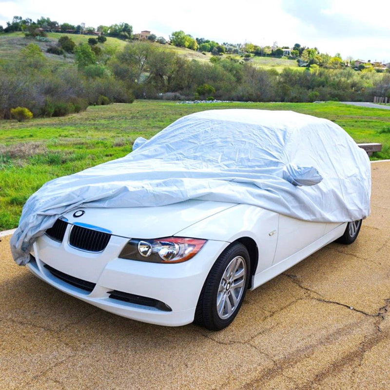 "Car Cover for BMW 3 Series Sedan 320i, 330i, 340i, 328D, 330e; 182""L x 71""W x 51.5""H Poly 200 Grey - Formosa Covers"