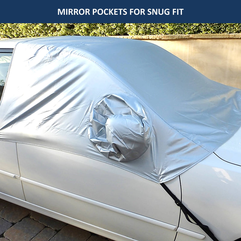 Car Snow and Windshield Sun Shade Half Top Cover fits Small to Mid Size Car - Formosa Covers