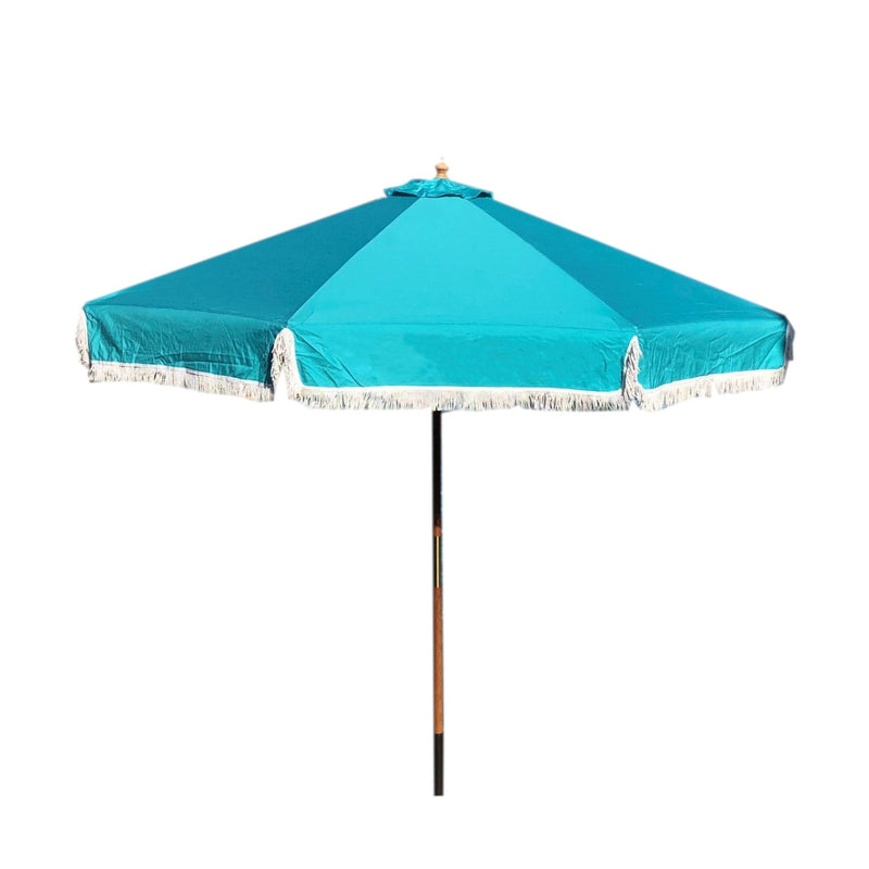 9ft 6 Ribs Replacement Umbrella Canopy w/Fringed Valance in Turquoise (Canopy Only)