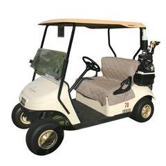 Reversible Golf Cart Dual Seat Blanket Cover Black and Taupe - Formosa Covers