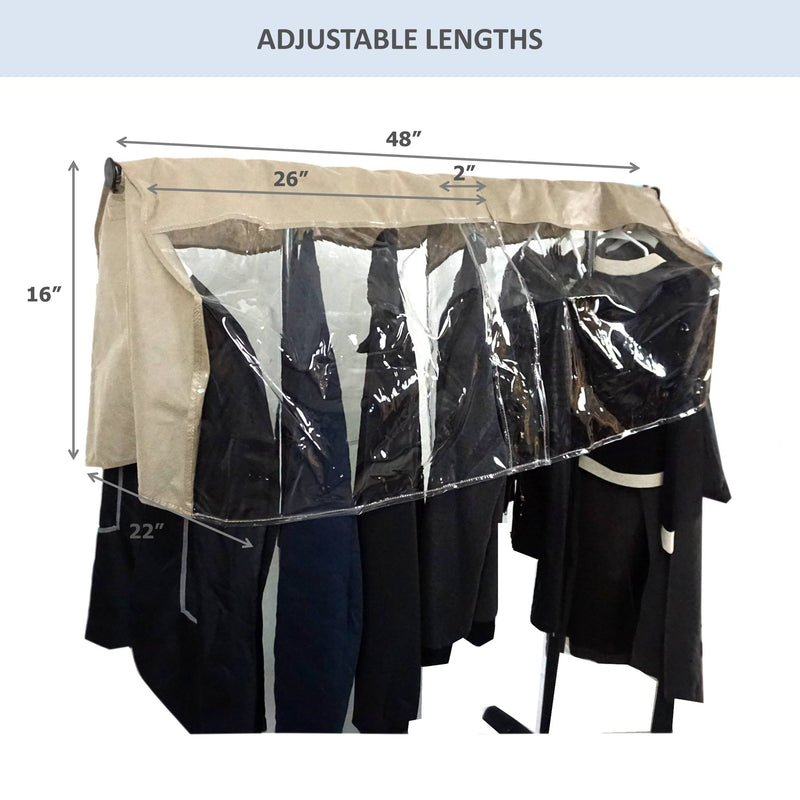 "Closet Rod and Portable Clothing Rack Shoulder Garment Dust Cover Adjustable to fit 26"" to 48"" long - Formosa Covers"