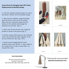 Replacement Umbrella Canopy for 10ft 8 rib hanging market Outdoor Patio Shades in Taupe Ribs length 58