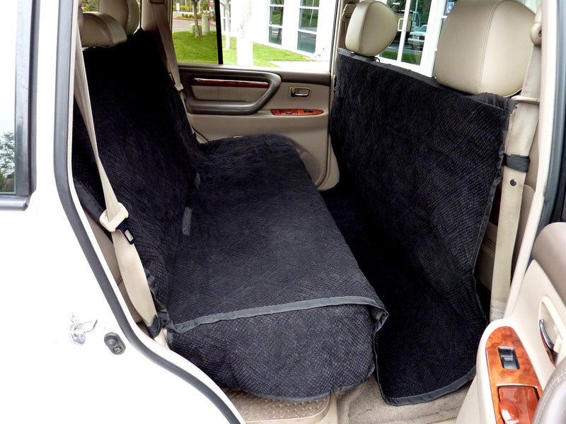 "X-Large Car Seat Cover For Dogs and Pets 56""W Black Micro Velvet - Formosa Covers"