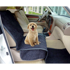 Pet Single Car Seat Cover with Floor Coverage Black Micro Velvet - Formosa Covers