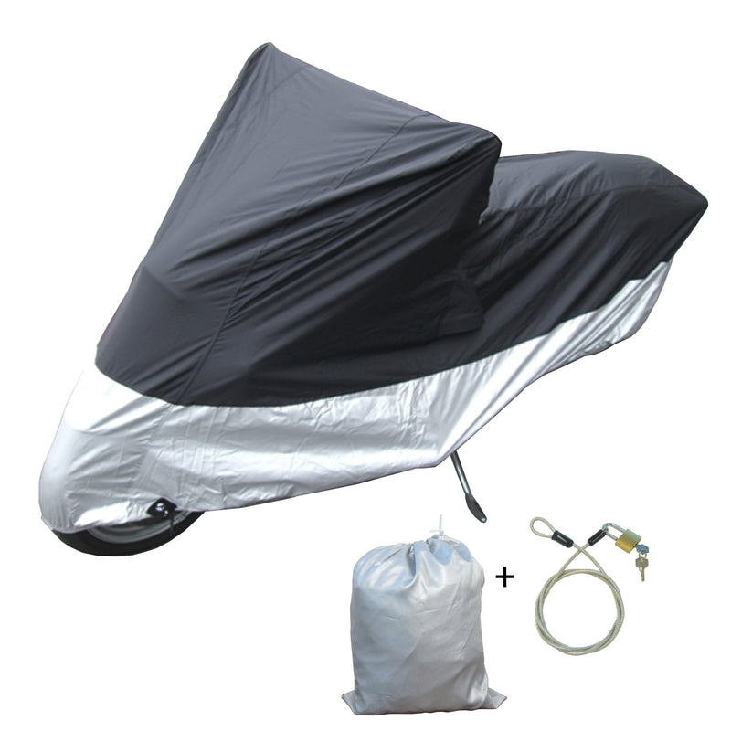 "Light Weight Motorcycle Cover (XL) with Cable & Lock. Fits up to 94"" Length Medium Cruiser, Large Sport Bike - Formosa Covers"