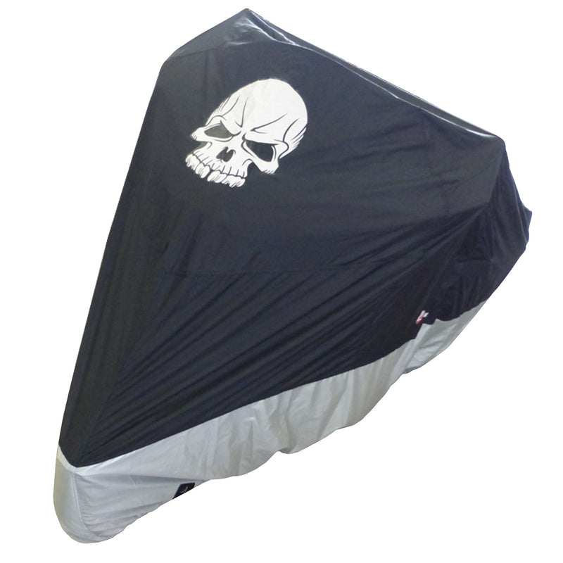 "Deluxe Light Weight Motorcycle Cover with Skull Logo - Fits up to 108""L (XXL) - Formosa Covers"