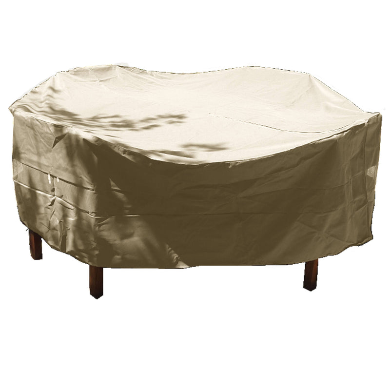 "Patio Set Cover For Round or Square Table & Chairs 96""Dia. x 30""H Classic Taupe - Formosa Covers"