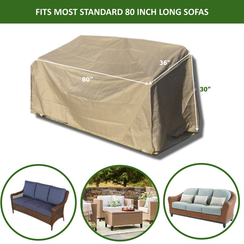 "Patio Outdoor Sofa Cover Up to 80""L Classic Taupe - Formosa Covers"