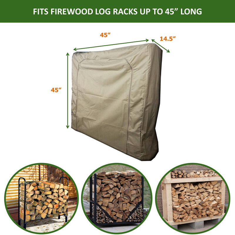 "Firewood Log Rack Outdoor and Indoor Cover - Up to 45"" Long - Formosa Covers"