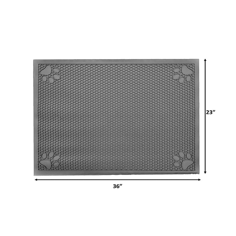 "Pet Feeding Non-Slip Mat Waterproof For Water or Food Bowl Large 23""L x 36""W Slate Grey"