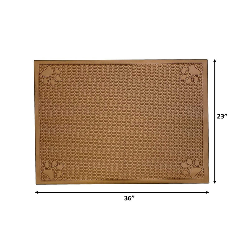 "Pet Feeding Non-Slip Mat Waterproof For Water or Food Bowl Small 18""L x 23""W Latte"