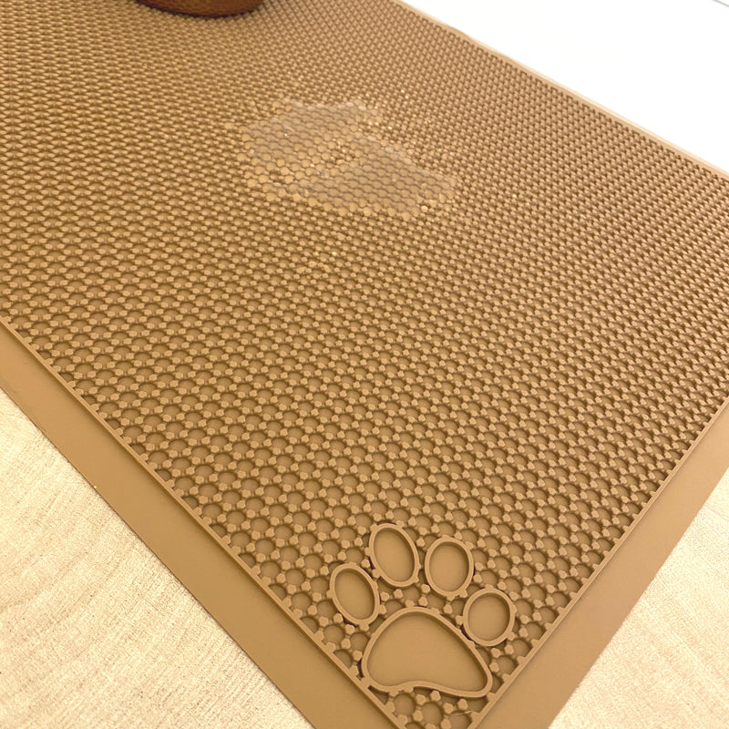 "Pet Feeding Cat Litter Catcher Non-Slip Mat Waterproof Large 23""L x 36""W Latte"