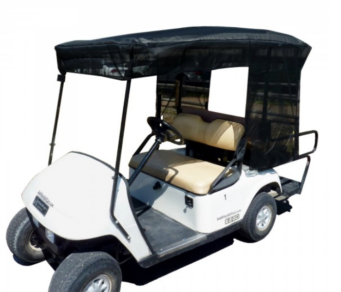 "Golf Cart Sun Shade UV Mesh Top Cover For 80"" Long Roof Black - Formosa Covers"