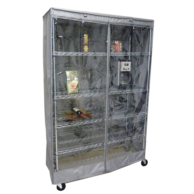 "Storage Shelving Unit Cover, fits racks 36""W x 14""D x 54""H one side see through panel in Grey"