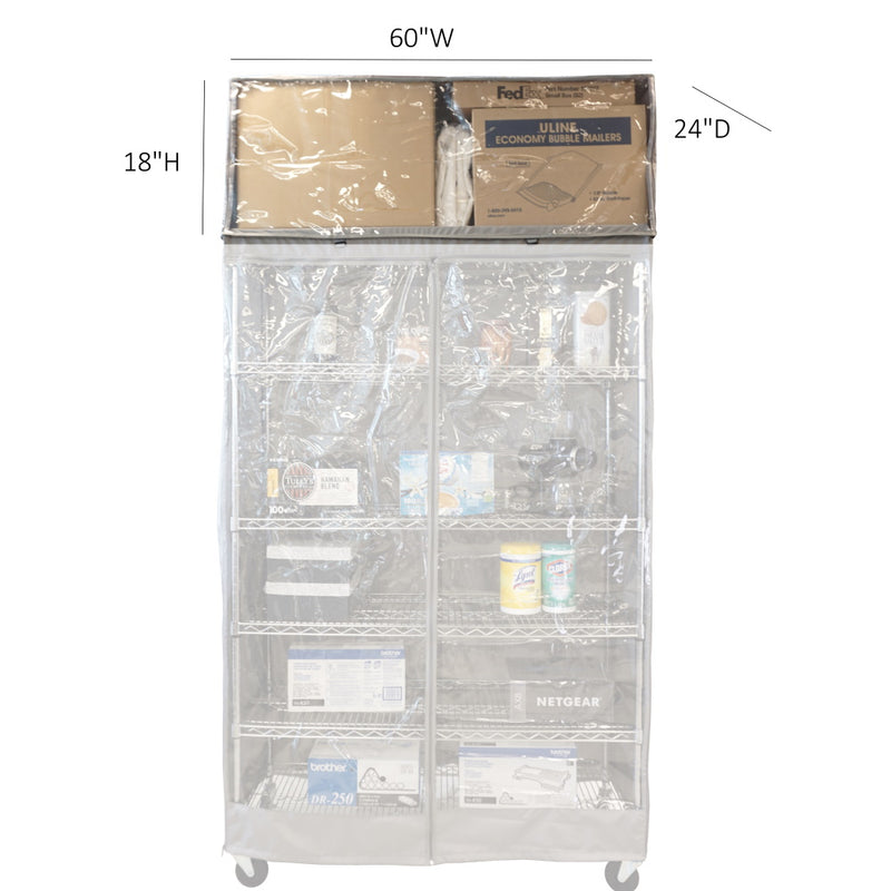 "Storage Shelving Top Cover, 60""W x 24""D x 18""H, one side see through panel (Top Part ONLY) - Formosa Covers"