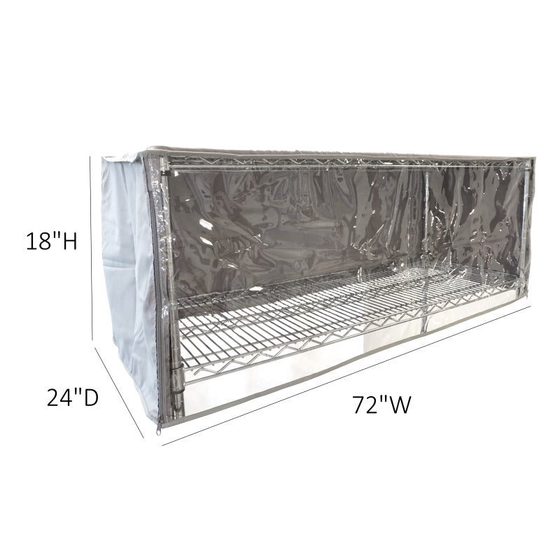 "Storage Shelving Top Cover, 72""W x 24""D x 18""H, one side see through panel (Top Part ONLY) - Formosa Covers"