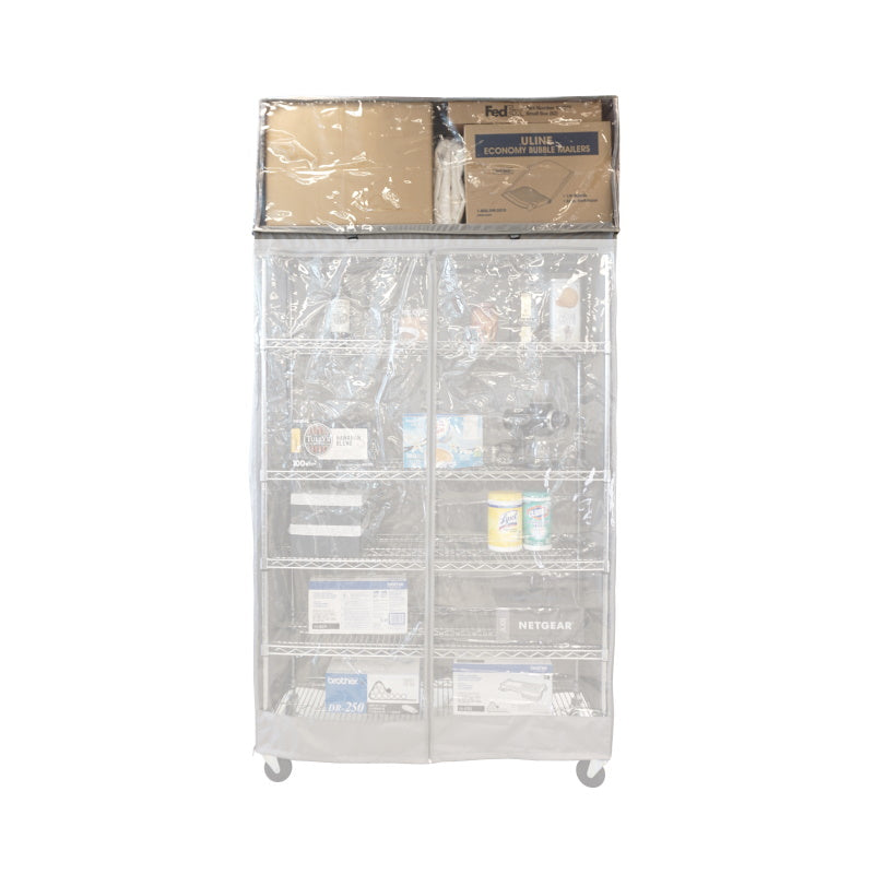 "Storage Shelving Top Cover, 36""W x 18""D x 18""H, one side see through panel (Top Part ONLY) - Formosa Covers"