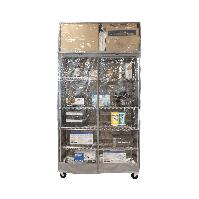 "Storage Shelving Top Cover, 72""W x 24""D x 18""H, one side see through panel (Top Part ONLY)"