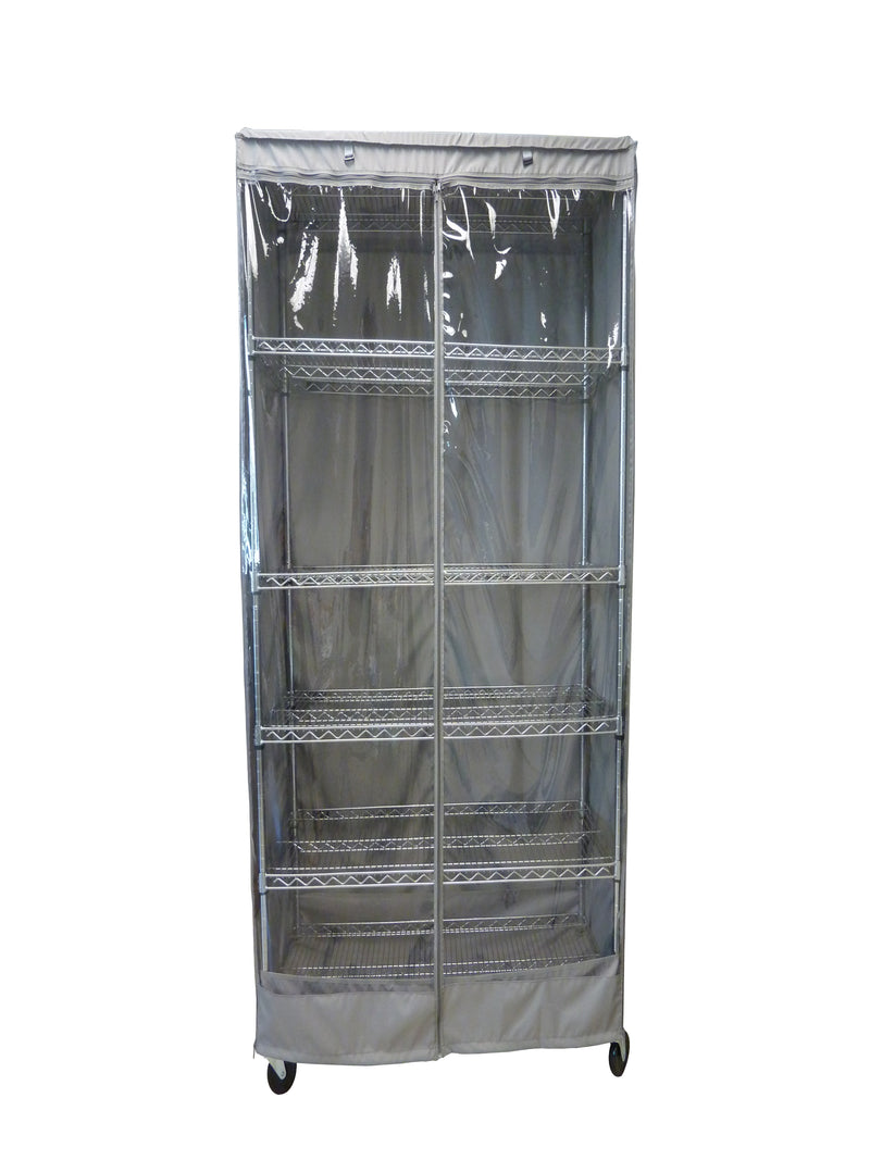 "Storage Shelving Unit Cover, fits racks 24""W x 18""D x 72""H one side see through panel in Grey"