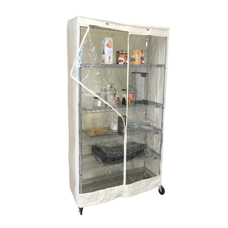 "Storage Shelving Unit Cover, fits racks 30""W x 24""D x 72""H one side see through panel in Off White"