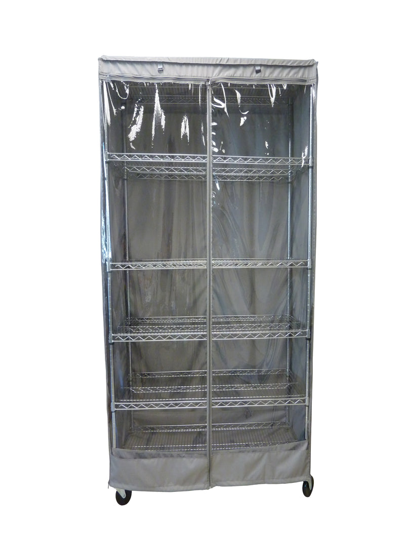"Storage Shelving Unit Cover, fits racks 30""W x 14""D x 60""H one side see through panel in Grey"