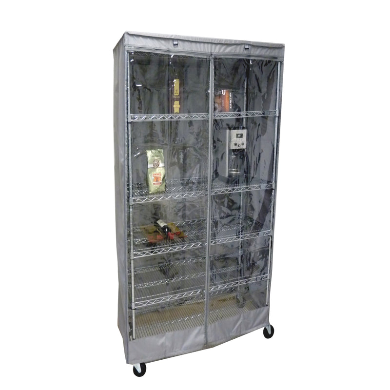 "Storage Shelving Unit Cover, fits racks 36""W x 14""D x 72""H one side see through panel in Grey"