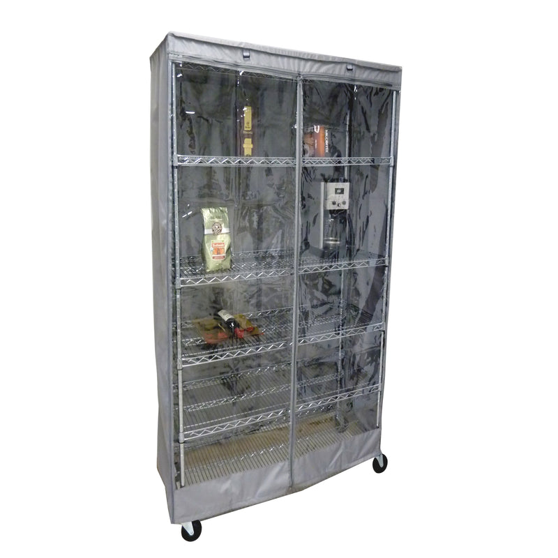 "Storage Shelving Unit Cover, fits racks 36""W x 18""D x 72""H one side see through panel in Grey - Formosa Covers"