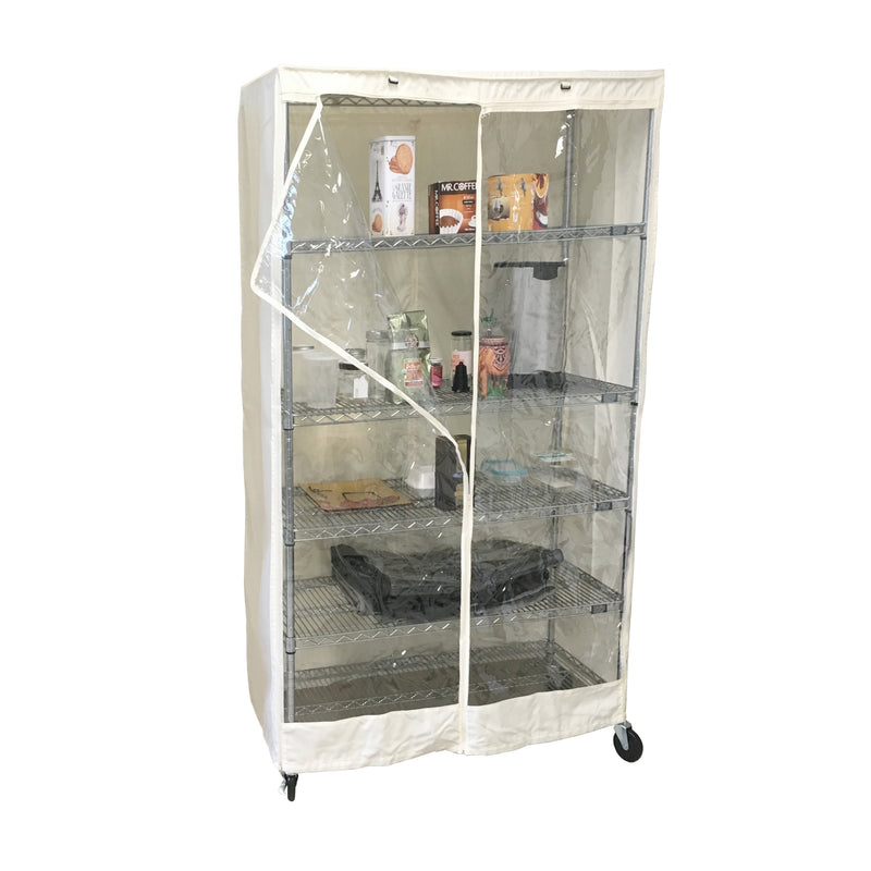 "Storage Shelving Unit Cover, fits racks 36""W x 18""D x 72""H one side see through panel in Off White"
