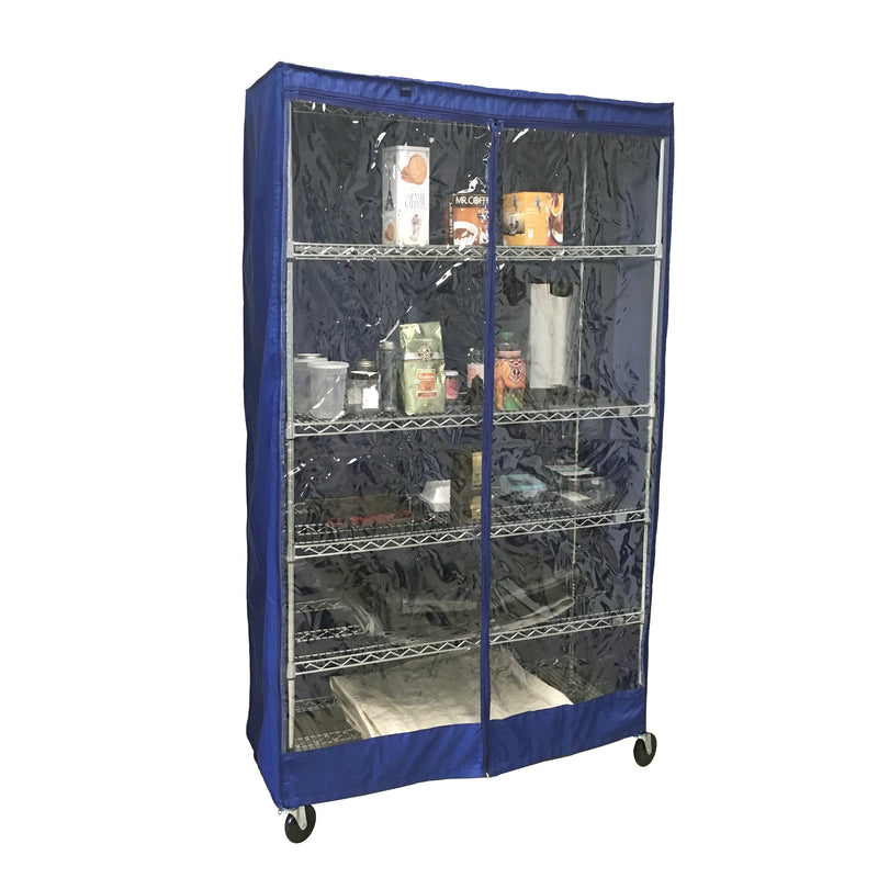"Storage Shelving Unit Cover, fits racks 36""W x 18""D x 72""H one side see through panel in Royal Blue"