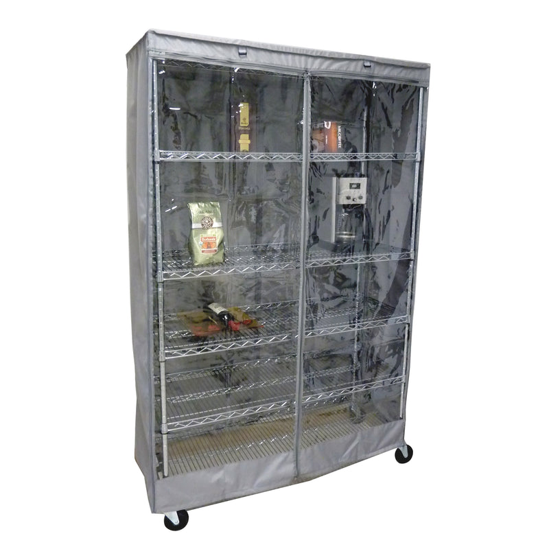 "Storage Shelving Unit Cover, fits racks 48""W x 18""D x 72""H one side see through panel in Grey"
