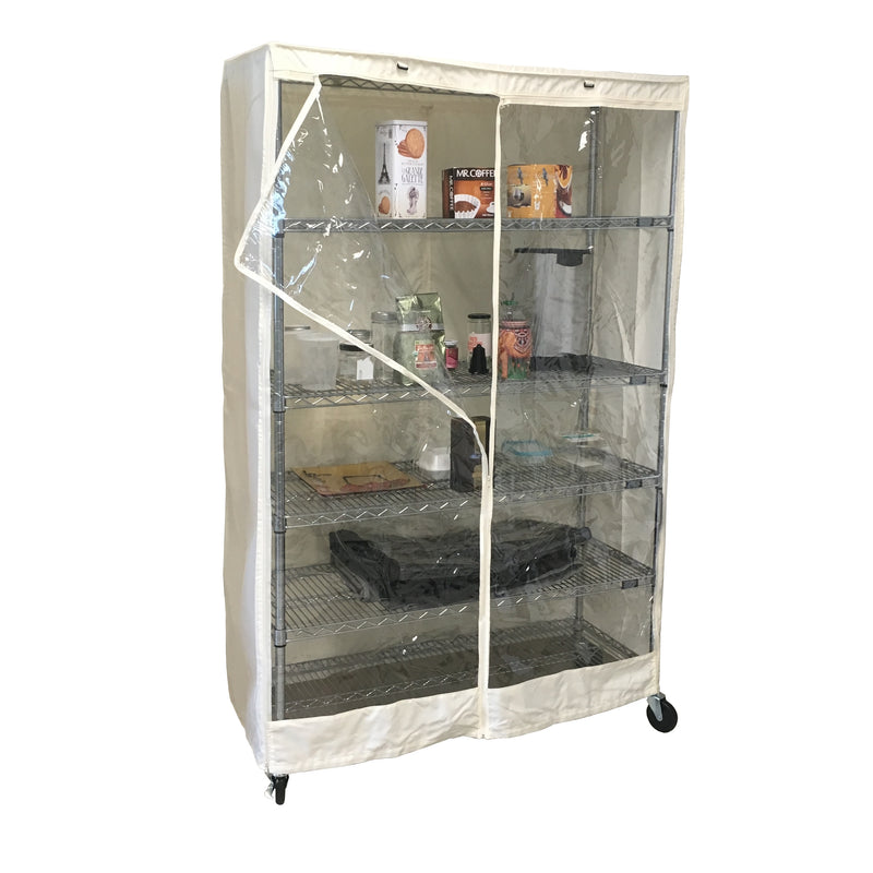 "Storage Shelving Unit Cover, fits racks 48""W x 18""D x 72""H one side see through panel in Off White"
