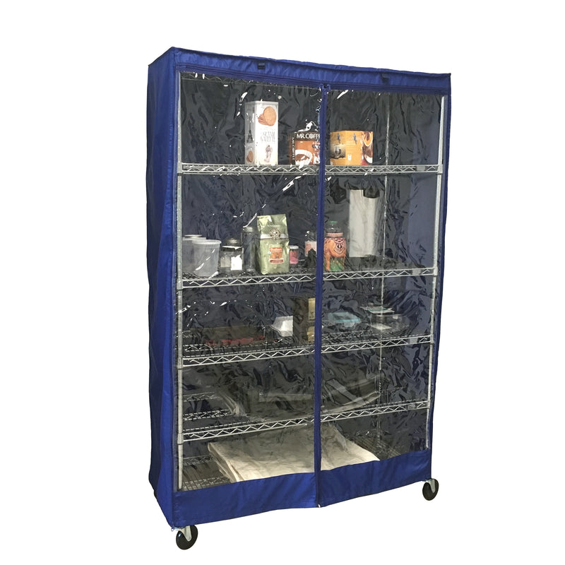 "Storage Shelving Unit Cover, fits racks 48""W x 18""D x 72""H one side see through panel in Royal Blue"