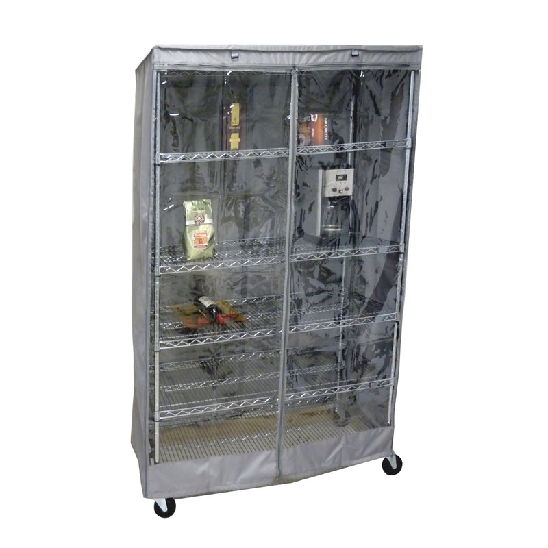 "Storage Shelving Unit Cover, fits racks 48""W x 24""D x 72""H one side see through panel in Grey"