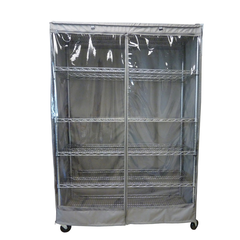 "Storage Shelving Unit Cover, fits racks 60""W x 24""D x 72""H one side see through panel in Grey"