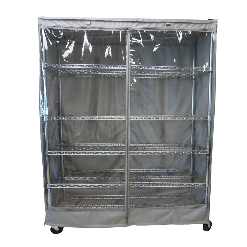 "Storage Shelving Unit Cover, fits racks 72""W x 24""D x 75""H one side see through panel in Grey"