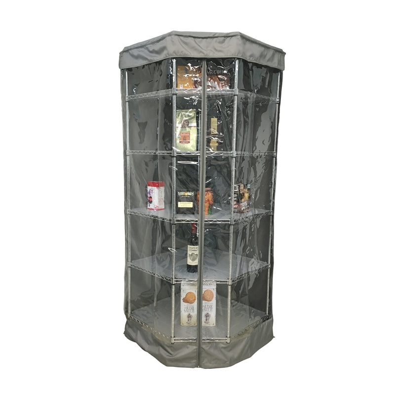 "Storage Corner Shelving unit cover, fits corner racks 28""D x 28""D x 72""H one side see through panel in Grey"